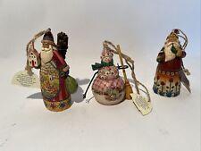 "3pc Jim Shore Santa & Snowman Ornaments 3.5"" Heartwood Creek 2002 Enesco Retired"