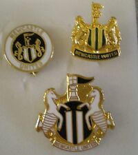 NEWCASTLE UNITED FOOTBALL CLUB 3 x Enamel Lapel Pin Badges including CREST
