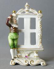 Porzellanfigur, Thüringen, Volkstedt, Junge, Spiegel, Vase,Goldstaffiert,14,5 cm