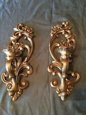 Vtg Gold Ornate Floral Wall Sconce Candle Holders Homco