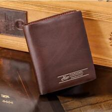 Casual Mens Brown Leather Bifold Wallet Credit/ID Card Holder Slim Coin Purse B2