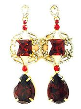 USA EARRING fashion Swarovski ELM Crystal RED Dangle Gold Plated Pear Drop gold
