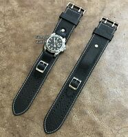 Size 16/18/20/22mm Vintage Style Dark Brown Leather Cuff Watch Strap Band#157