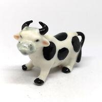 Ceramic Cow Figurine Smiling Black White Handmade Miniature Farm Collection Gift