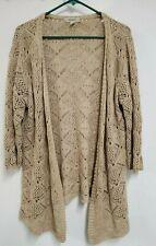 Westport By Dressbarn Knit Cardigan Sweater Open Front 3/4 Sleeve SIze L Beige