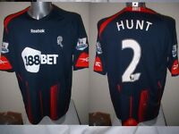 Bolton Wanderers Hunt Match Shirt Jersey Football Soccer Adult XL Reebok Worn