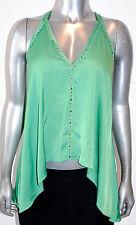 $178 NWT BCBG MAX AZRIA womens ABBEY studded SATIN open back TOP kelly green *L