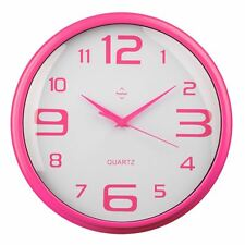 Premier Housewares Wall Clock Hot Pink Numbers and Hands and Frame 1xAA Battery
