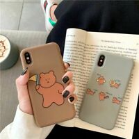 Cartoon Cute Bear Case Funny Matte Bear Cover Skin For iPhone Xs Max Xr 8 Plus 6