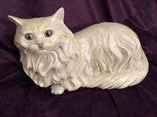 "Vintage 17"" long 9"" tall Large Ceramic Cat Statue Glazed Lifelike"