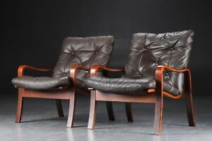 VINTAGE DANISH MID CENTURY LOUNGE CHAIRS IN COCO LEATHER AND ROSEWOOD (2)