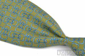 "GUCCI Vintage VTG Green Blue Link Geometric 100% Silk Mens Luxury Tie - 3.875"""