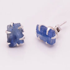 925 Sterling Silver Earrings, Raw Kyanite Handcrafted Womens Jewelry RSE423