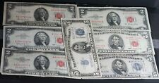 Lot of 7 $2 & $5 United States Red Seal & Silver Certificate Notes
