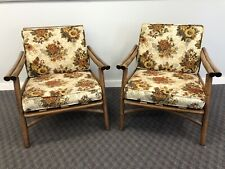 Vintage Mid Century Modern CHAIR PAIR bamboo bentwood boho chic arm club set 60s