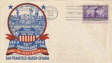 SEUL SUR LETTRE LETTER - PREMIER JOUR FIRST DAY - TRANSCONTINENTAL RAILROAD 1944