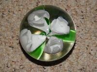 Paperweight Art Glass Murano Style White Flower