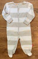 Pumpkin Patch Baby Unisex Footie Sleeper Gray White Stripe Cotton Size 3-6m 67cm