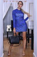 Ladies Blue/Black Leopard/Animal Print Polo Neck, Bodycon Dress. Size 6-8-10-12