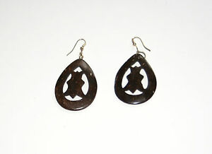 Handmade Carved Coconut Shell Drop Dangle Earrings pair Oval Drop shape Ethnic