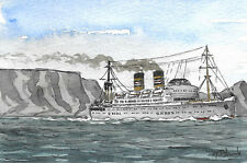 "ORIGINAL AQUARELL - Passagierschiff ""Windhuk""."