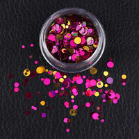 Mixed Nail Ultrathin Sequins Round Purple Red 3D Nail Art Decoration Manicure