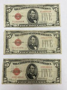 1928 $5 Red Seal Lot Of 3