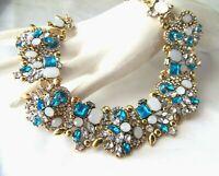 Beautiful Retro Vintage Style Turquoise Crystal  Rhinestone & Glass Necklace