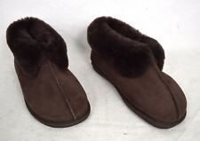 Acorn Shoes Brown Shearling Sheepskin Suede Bootie Slippers 6 Women