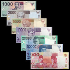 Indonesia Set 7 PCS, 1000 2000 5000 10000-100000 Rupiah, 2000-2016, UNC