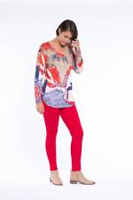 Cafe Latte Denim Red Floral Print Long Sleeve Top