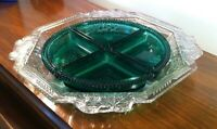 Vtg Jeannette Pressed Glass Relish Dish Divided Green Inserts Octagon Grapes