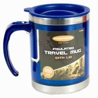 450ml Insulated Travel Camping Mug Cup Coffee Hot Drink Tea Handle Metal Lid
