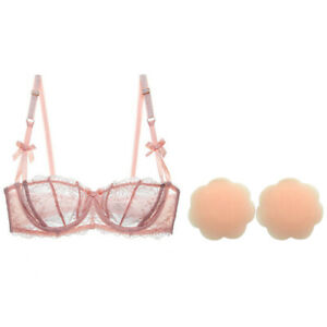 See Through Lace Sheer Bra Unlined Underwire Sexy Bralette and Breast Paste 2PC