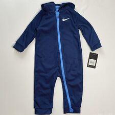 Nike Bebé Con Capucha Mono Mameluco de una pieza Traje Talla 18M Azul Marino Malla de impresión