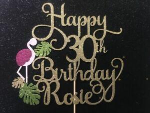 FLAMINGO  Happy Birthday Cake Topper Pink ANY AGE 18 21 30 40 50 60 70 80 90