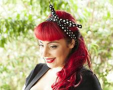 Black with White Polka Dots Hairband Retro 50's Rockabilly hair tie