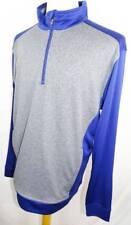 New Men's Cutter & Buck Blue/Heather Charcoal 1/2 Zip Long Sleeve Pullover L Nwt