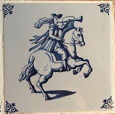 Vier Kachelbilder aus dem 19. Jhdt., abgebildet Soldaten Ritter zu Pferd, Rahmen