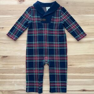 NWOT JANIE AND JACK Plaid Holiday Christmas Romper Size 12-18 Months
