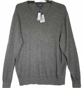 Men's DANIEL CREMIEUX Grey V-Neck Luxury 100% CASHMERE Sweater XXL 2XL NEW $200