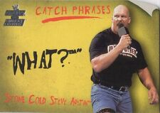 """STONE COLD STEVE AUSTIN 2002 Fleer WWE CATCH PHRASES Insert Card #4CP """"WHAT?"""""""
