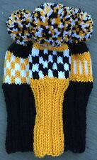 "3 HAND KNIT 8"" GOLF HEAD COVERS BLACK WHITE GOLD HYBRID IRONS FUN GIFT"