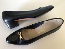 Ferragamo  Heels Pumps Size 10 C Black Leather LOGO