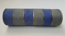 Blue and Silver Striped Deco Mesh 10 inches by 10 yards