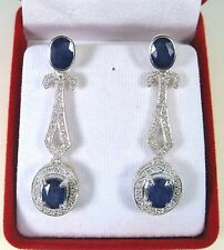 BLUE & WHITE SAPPHIRE EARRINGS 8.33 CTW - WHITE GOLD over 925 STERLING SILVER