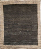 8X10 Hand-Knotted Gabbeh Carpet Modern Black Fine Wool Area Rug D43269