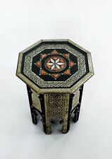 Handmade Silver Metal Bone Encrusted Moroccan Side Table