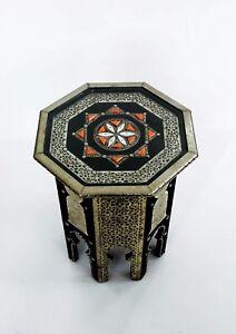 Handmade Silver Metal Bone Encrusted Moroccan Side Table