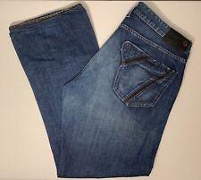 Guess Mens Falcon Boot Cut Jeans Denim Style M74M2097 Black Strip Cuff 38x32